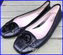 New Michael Kors moccasins ballet flats black leather shoes UK 8 EUR 41