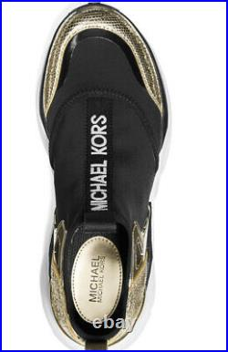 New Michael Kors willow slip on sneakers stretch supple leather black gold shoes
