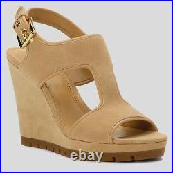 New Michael Michael Kors Women Gillian Wedge Suede Shoes Nude Size 9.5