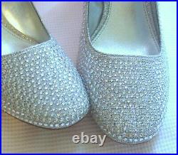 New Size 7 Michael Kors Stunning Clear Rhinestones Block Heel Pumps Shoes