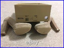 New WBox No Lid Michael Kors SABRINA PUMP Platform Heels Suede DK Khaki Size 7.5