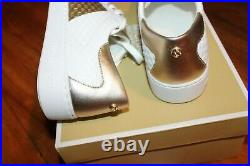 New Womens Michael Kors Sz 9 Shoes Colby Sneaker Leather Gold