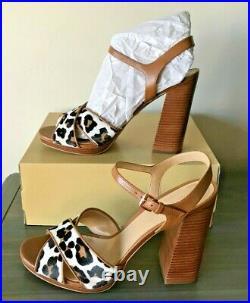 Nib Michael Kors Alexia Acorn Printed Hair Calf Platform Hgh Heels Shoes Mult Sz