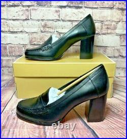 Nib Michael Kors Buchanan Black Leather MID Loafer Hi Heels Pumps Shoes Sz 6