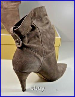 Nib Michael Kors Carey Taupe Leather Bootie Boots Shoes Sz 5-9