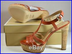 Nib Michael Kors Catalina Orange Leather Hi Heel Platform Sandals Shoes Sz 7-11