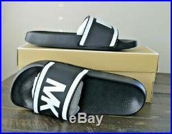 Nib Michael Kors Cate Pvc Black White Slip On Slides Sandals Shoes Sz 8