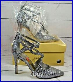 Nib Michael Kors Catia Silver Gunmetal Glitter Pumps Hi Heels Shoes Mult Sz