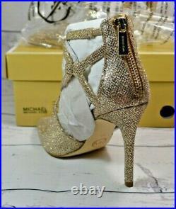 Nib Michael Kors Catia Silver Sand Glitter Pumps Hi Heels Shoes Sz 5, 5.5