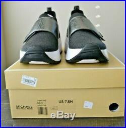 Nib Michael Kors Cosmo Knit Black Gunmetal Slip On Sneaker Shoes Mult Sz