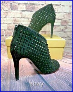 Nib Michael Kors Dani Open Toe Bootie Black Suede/bling Studs Hi Heels Shoes 8.5