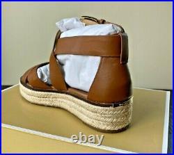 Nib Michael Kors Darby Luggage Leather Platform Sandals Shoes Mult Sz