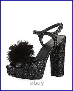 Nib Michael Kors Fara Black Glitter Fabrc Pom Pom Platform Sandals Shoes Sz 6-10