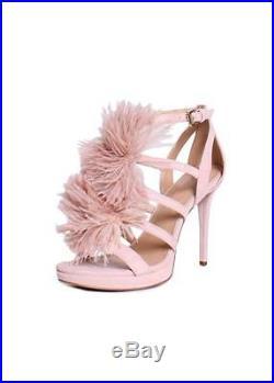 Nib Michael Kors Fara Soft Pink Suede Pom Pom Hi Heel Sandals Shoes Sz 6-10
