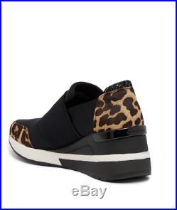 Nib Michael Kors Felix Trainer Genuine Calf Hair Wedge Sneaker 8 M Leopard $155
