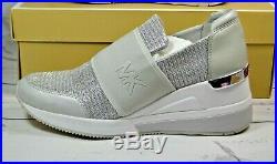 Nib Michael Kors Felix Trainer Milk Glitter Chain Mesh Sneaker Shoes Mult Sz