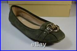 Nib Michael Kors Fulton Moc Olive Suede Moccasins Ballerina Flats Shoes Sz 11
