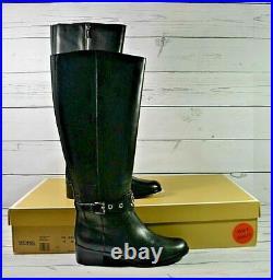 Nib Michael Kors Heather Black Leather Flat Tall Boots Shoes Sz 6-10