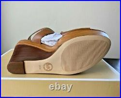 Nib Michael Kors Josephine Luggage Leather Wedge Peep Toe Sandals Shoes Mult Sz