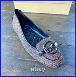 Nib Michael Kors Lillie Moc Black/bronze Glitter Chn Mesh Moccasin Shoes Mult Sz