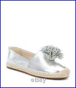 Nib Michael Kors Lolita Slip On Metallic Silver Leather Shoes Sz 6-10