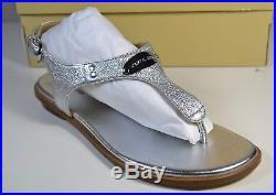Nib Michael Kors Mk Plate Thong Silver Sparkle Leather Flip Flop Sandal Sz 7-10