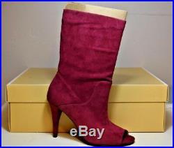 Nib Michael Kors Mulberry Suede Elaine Open Toe Bootie Boots Sz 5, 9 40t8elhe6s