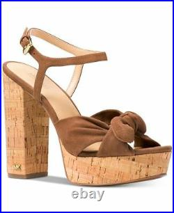 Nib Michael Kors Pippa Platform Luggage Suede Hi Heels Sandals Shoes Sz 5-11