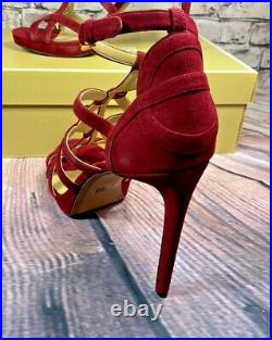 Nib Michael Kors Sandra Maroon Suede Platform Hi Heel Sandals Shoes Mult Sz