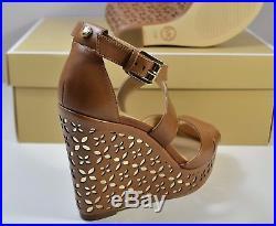 Nib Michael Kors Sienna Floral Acorn/pale Gold Leather Wedge Sandals Sz 5-10