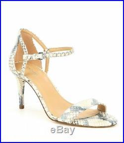 Nib Michael Kors Simone MID Denim Embossed Leather Hi Heel Sandals Shoes Sz 6-8