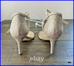 Nib Michael Kors Simone Pale Gold Glitter Chain Mesh Hi Heel Sandals Shoes Sz 10