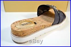Nib Michael Kors Warren Black Leather Slip On Sandals Shoe Sz 7.5-10 40s7wafp3l