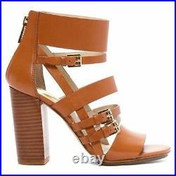 Nib Michael Kors Winston Luggage Leather Sandals Shoes Size 9 1/2 M