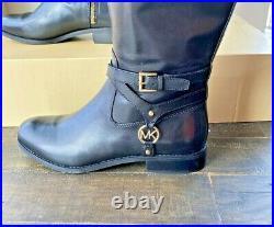 Nwt Michael Kors Preston Black/brown Leather Tall Boots Shoes Mult Sz