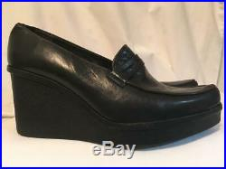 Robert Clergerie Black Leather Loafer Wedge Heel Shoes 10
