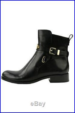Size 5.5 Michael Kors Arley Ankle Boot Black Mk Logo Buckle Bootie Women's Shoes