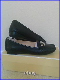 Size 6.5 Michael Kors Shoes Black Leather MK Logo Charm Loafers Moccasins Flats