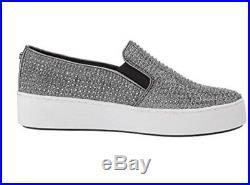 Women MK Michael Kors Trent Slip On Sneaker Glitter Chain Mesh /Hot Fix Stones