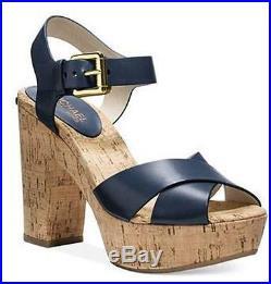 Women's MICHAEL Michael Kors NATALIA PLATFORM Kork Heels Sandal Leather NAVY