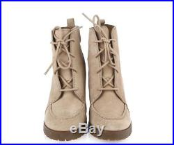 Women's MK MICHAEL KORS 228160 beige / tan suede ankle wedge booties sz. 7.5 M