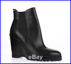 Women's MK MICHAEL KORS 228165 black leather pull on wedge booties sz. 8