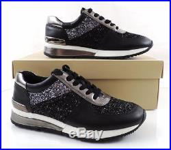 Women's Michael Kors ALLIE WRAP TRAINER Sneakers Glitter Fabric Black Size 6
