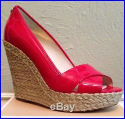 Women's Michael Kors Cassandra Wedge Peep Toe Sandal Rhubarb Sz 7 8 $145 NIB