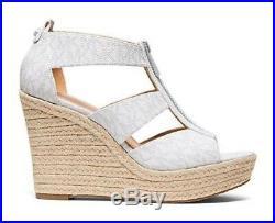 Women's Michael Kors DAMITA WEDGE Espadrille MK Logo Platform Sandals Whilte