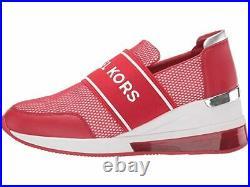 Women's Michael Kors Felix Trainer Extreme Scuba Bright Red Sneaker Shoes 9.5