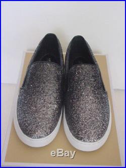 Women's Michael Kors Keaton Glitter Slip On Sneaker Gunmetal Metallic 6-10 NIB