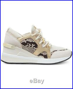 Women's Michael Kors Liv Trainer Lace Up Sneakers Lt Cream Snake Sz 8 10 NIB
