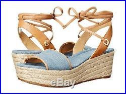 Women's Michael Kors MARGIE PLATFORM Espadrille Wedge Sandals Denim Size 8