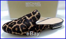 Women's Michael Kors NATASHA SLIDE Mules Slip On Flat Sandals Leopard Size 8.5